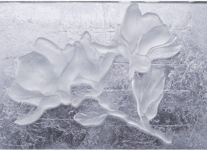 architectural glass panel with rose pattern moulded into