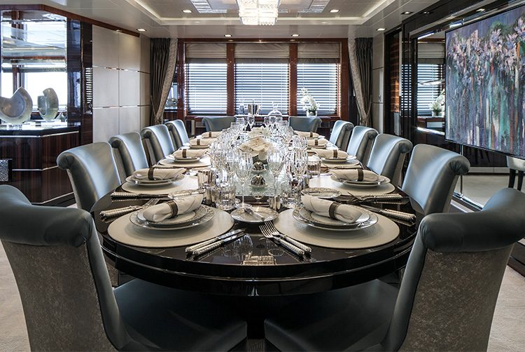 The dining room of superyacht Motor Yacht Turquoise