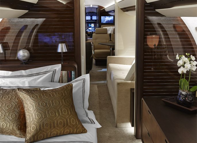 a private aircraft interior with with luxury accessories