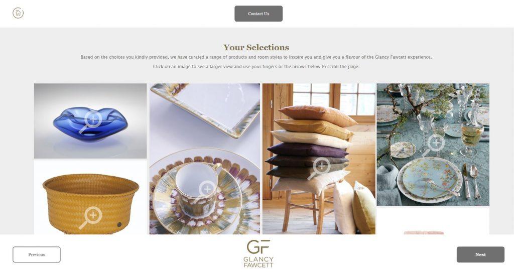 a screenshot of Glancy Fawcett's product moodboard generator