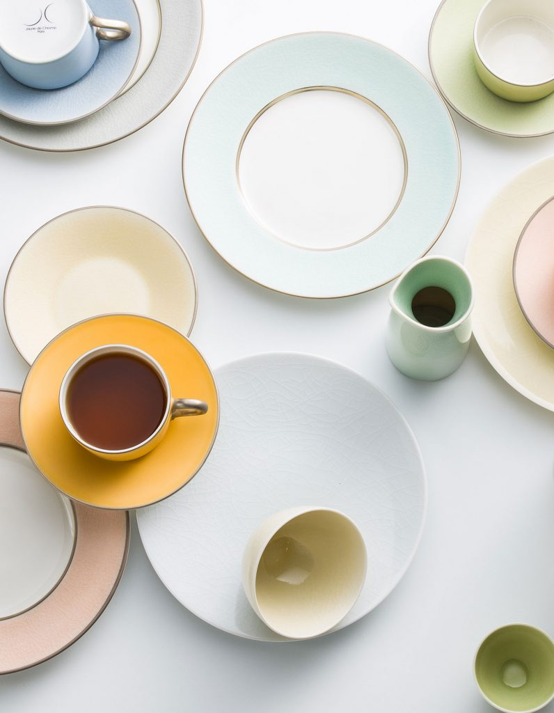 birds eye view of colourful porcelain and china