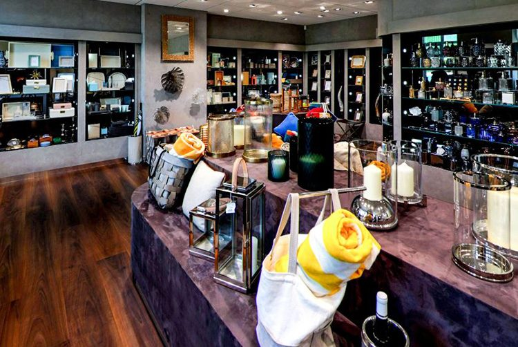 the Glancy Fawcett showroom, lots of decorative accessories in a room on shelves