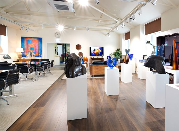 an art gallery in Glancy Fawcett's showroom containing one off art sculptures