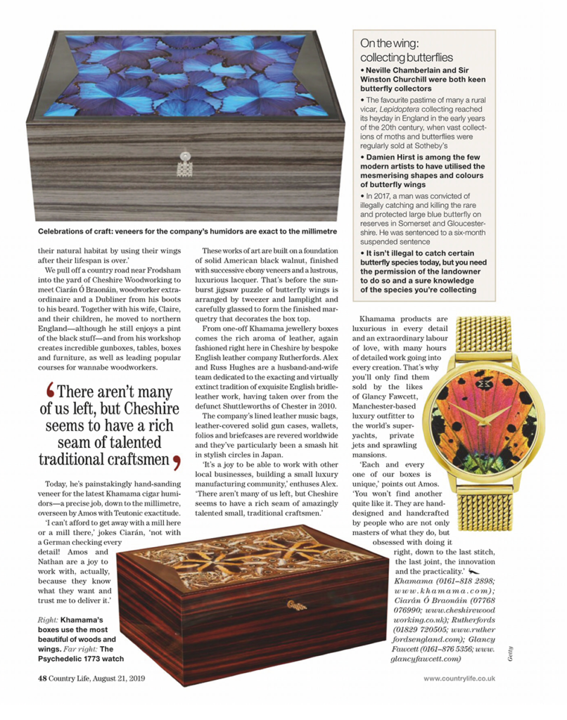 CountryLife Magazine displaying Glancy Fawcett's butterfly box