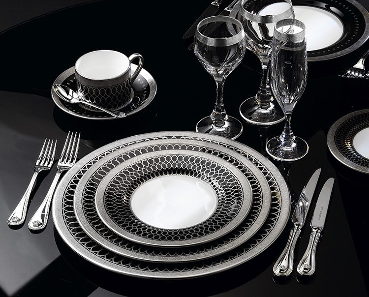 Clive Christian and Glancy Fawcett tableware that is black and silver
