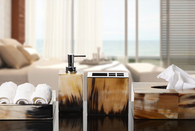 bathroom accessories including a soap pump made from natural horn