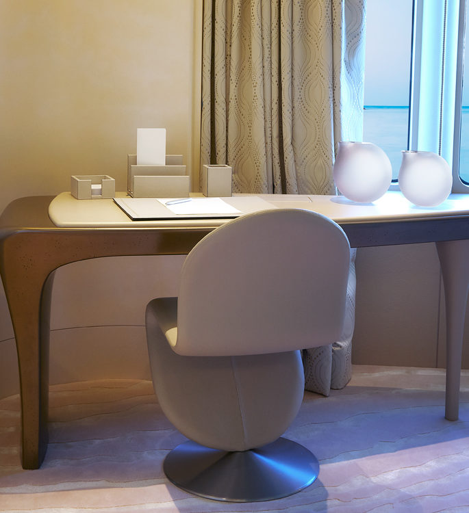 an office with neutral desk accessories in motor yacht Aviva