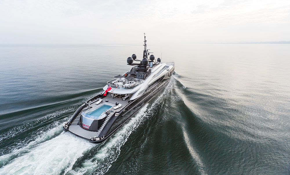 Arial view of superyacht motor yacht OKTO in the sea