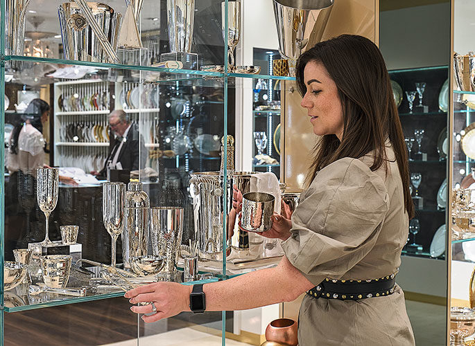 Projects Team selecting Silverware options for a client in the Glancy Fawcett Silverware Showroom