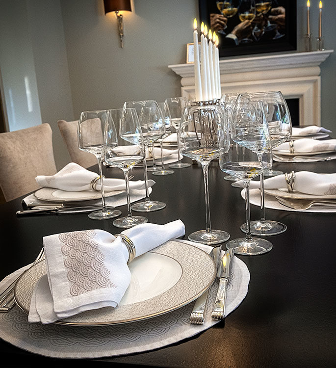 Residential luxury table setting