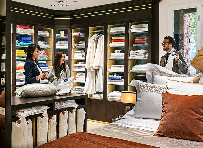 The Projects team in the Linens Showroom selecting fabrics