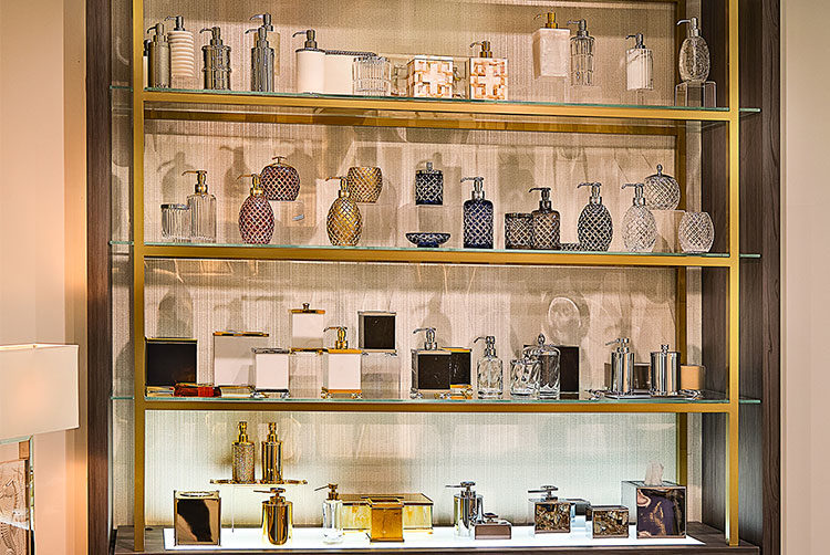 Bathroom Accessories display in the Glancy Fawcett Showroom