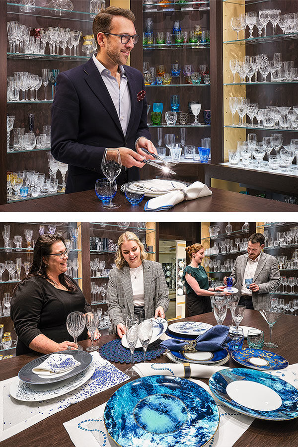 The Glancy Fawcett team showcasing our luxury tableware product