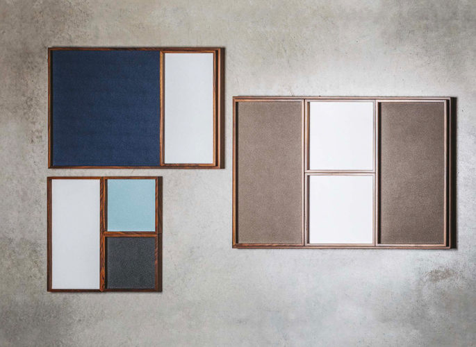 three leather trinket trays in blue, beige and teal
